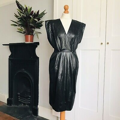 Vintage 80s Black Wet Look Faux Leather Embroidered Power Dress 12 • 24.50£