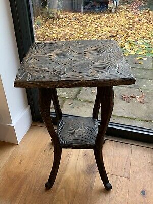 Liberty Of London Hand Carved Japanese Square Arts & Crafts Two Tier Side Table • 200£
