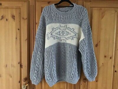 Hand Knitted Heavy Slouchy  Pure Wool Jumper Knitted At Trefriw Mill, Wales • 50£