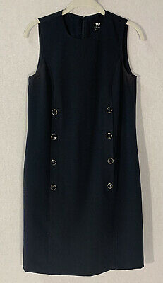 $ CDN19.62 • Buy W By Worth Womens Sleeveless Navy Blue Dress Size 4 Front Buttons