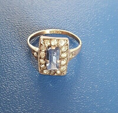Stunning Vintage Art Deco 9ct Gold On Silver Baguette Stone & Diamond Paste Ring • 95£