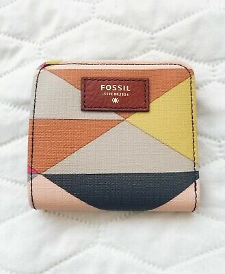 FOSSIL Bi-fold Wallet, Real Leather, Geometric Pattern, Multicolored - NEW • 9.99£