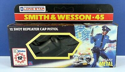 Vintage Lone Star Smith & Wesson 45 Acp Revolver Toy Cap Gun ( Boxed • 33£