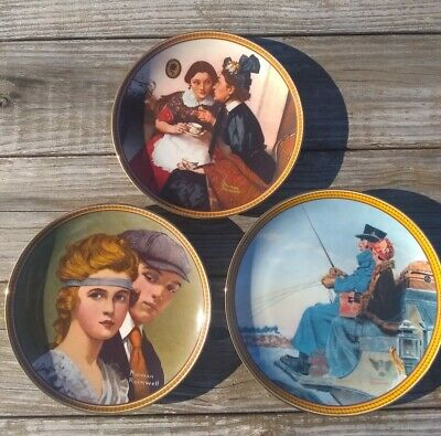 $ CDN25.89 • Buy Lot Of 3 Norman Rockwell Plates-Edwin M Knowles/Bradford Exchange Numbered