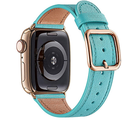 $ CDN32.58 • Buy Designer Tiffany Blue Leather Apple Watch Band Strap Series 1 2 3 4 5 6 SE