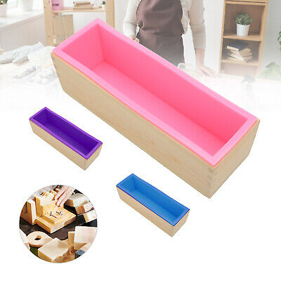 Wood Loaf Soap Mould With Silicone Mold Cake Making Wooden Box 1.2kg Soap • 8.49£