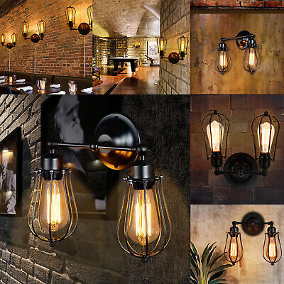 £10.89 • Buy Vintage Industrial Lights Lamps Covers Wall Mounted Rustic Fixture Black Cage UK