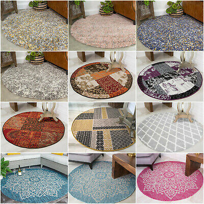Circle Dining Room Rugs Modern Living Room Rugs Round Patchwork Living Room Rugs • 44.95£