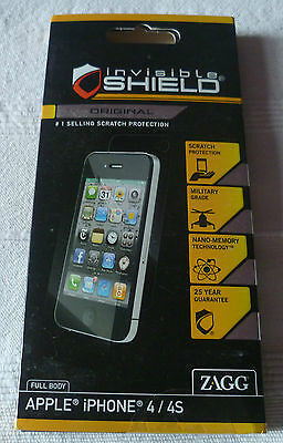ZAGG InvisibleSHIELD For IPHONE 4 - FULL BODY  (1st Class P+p) • 6£
