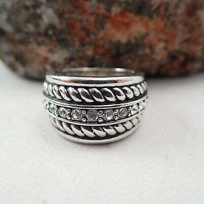 $ CDN23.50 • Buy Lia Sophia Cz Clear Crystal Twisted Rope Silver Tone Size 8 Band Ring
