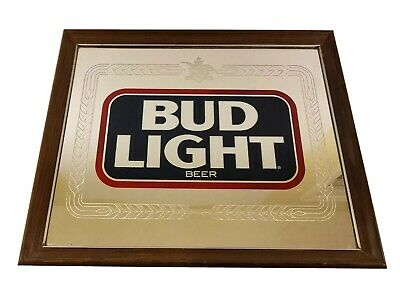 "$ CDN130.87 • Buy Vintage Budweiser Bud Light Mirror Sign Anheuser Busch 1987 801-207 22"" X 18"""