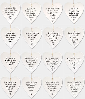 £5.45 • Buy East Of India White Porcelain Heart With Sayings Sign Family & Friends Gift 10cm
