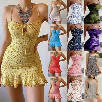 AU13.68 • Buy Sexy Women Spaghetti Strap Mini Dress Club Dress Sundress Beach Dress Plus Size