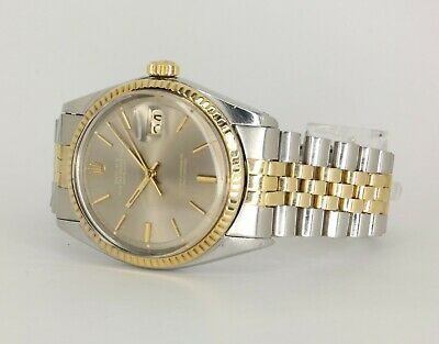 $ CDN6298.87 • Buy Mens Rolex Datejust 1601 Jubilee 36mm 18k Gold Bezel Pie-Pan 1970