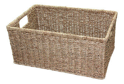 Seagrass Wicker Deep Storage Basket Small Medium Large Drawer Gift Hamper • 9.95£