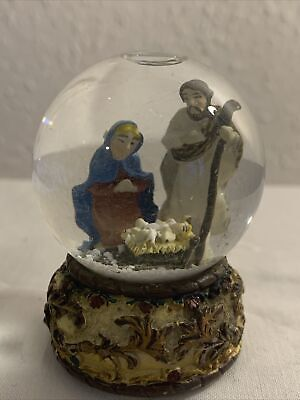 Nativity Snow Globe, Glass Snow Globe With Mary, Joseph & Baby Jesus, Miniature • 3.99£