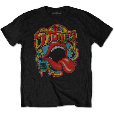 The Rolling Stones Tongue And Lips Retro 70s Vibe Official Black Mens T-shirt • 13.99£