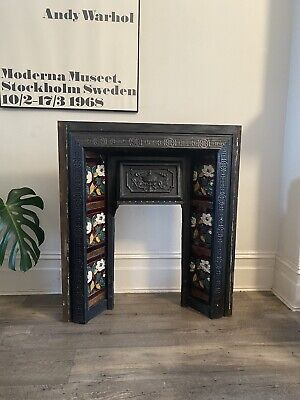 Edwardian Victorian Cast Iron Fireplace With Original Hand Painted Tiles • 50£