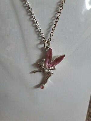 Fairy Tinkerbell Necklace Pink Crystal • 2.50£