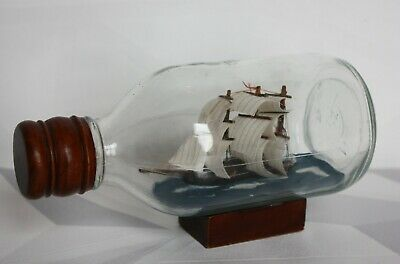 Vintage Ship In Glass Bottle Sailboat Sailing Ship Boat With Wood Base • 19.99£
