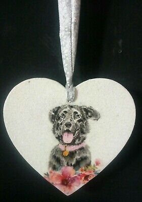 Black Labrador Christmas Decoration Gift Box Handcrafted Heart Wood Sparkly New • 5£