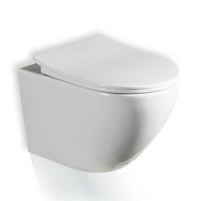 Galaxy Compact Round Rimless Wall Hung Wc Toilet Pan With Slim Soft Close Seat • 129£