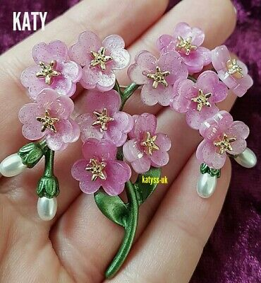 Vintage Art Deco Forget Me Not Flower Pastel Lilac Bouquet Pearl Brooch Gift  • 12£