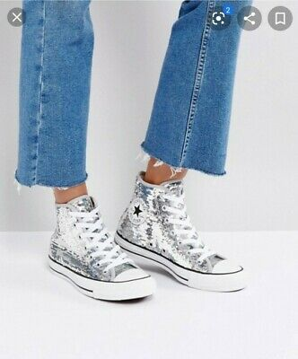 Converse Hi Tops Iridescent Sequin Size 3 Good Condition  • 15£