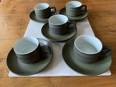 Vintage Denby Chevron Coffee Cups & Saucers X 5 • 8.20£