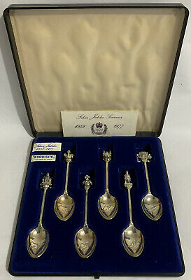 Set Of 6 Exquisite Silver Plated Teaspoons Queen Elizabeth II 1977 Jubilee Boxed • 10£