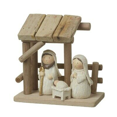 Wooden Nativity Scene With Resin Figures • 23£