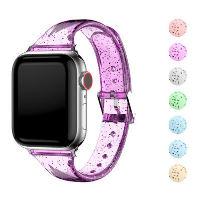 $ CDN11.08 • Buy Clear Glitter Strap For Apple Watch Series 6 5 4 3 2 1 38mm 42mm 40mm 44mm Band