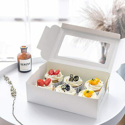AU38.99 • Buy Cupcake Box Cases 4 Hole 6 Hole 12 Hole Window Face Gift 50PCS