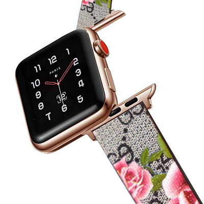 $ CDN30.08 • Buy Designer Blooms Leather Apple Watch Band Strap For Series 1 2 3 4 5 6 SE