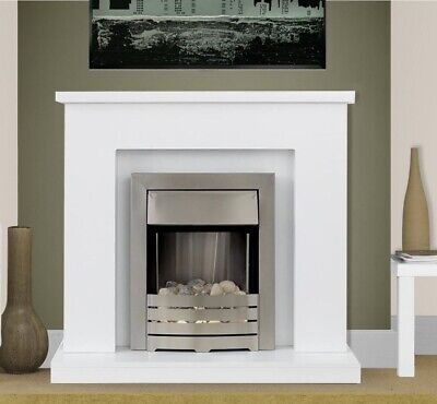 £291.59 • Buy Electric Fire White Fireplace Surround White Hearth Brushed Steel Pebbles Bnib