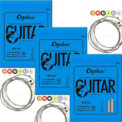 $ CDN9.49 • Buy 3 Sets Orphee RX15 Electric Guitar Strings Regular Steel Strings Super Light