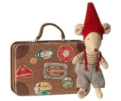 Maileg Christmas Mouse In Suitcase Little Brother Gift Present Mice Brand New • 18£