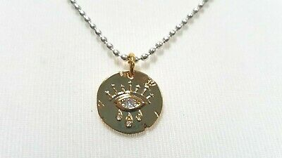 Evil Eye Gold Pendant On Silver Ball Chain Adjustable Necklace • 9.95£