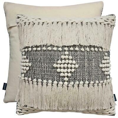 Bohemian Tassels Thick Pom Pom Cream Grey Marl Indian 17  Cushion Cover £13.69 • 13.69£