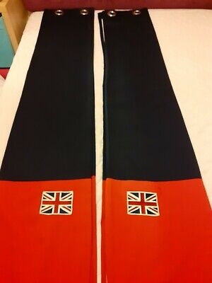 NEXT Blackout Curtains, Eyelet, Navy & Red, Union Jack Flag Motif • 8£