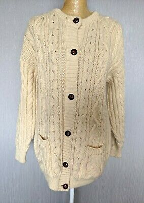 Vintage Aran Chunky Knit Cream Cardigan Cable Knit Pure Wool Buttons • 45£