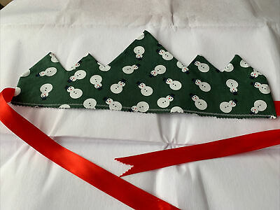 """Christmas Crown Party Hats With Red Ribbon Green Snowman 17"""" Reusable • 4.99£"""