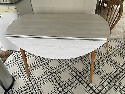 Drop Leaf Table With Melamine White Wood Effect F.H.G &Sons Guildford • 14.50£