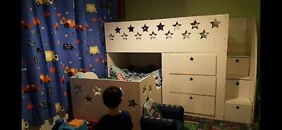 Childrens Custom Made Corner Star Bunk Beds With Stairs, And 2 Mattresses • 200£
