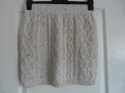 Textured Cream Cable Knitted Skirt From Primark Size 12 • 2.75£