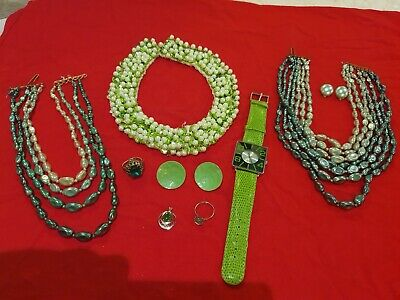 Job Lot Vintage Retro Pearl Jewellery Incl. Watch And 925 Silver Pendant • 4.35£