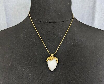 Lovely Faux White Jade Orchid Bud Pendant Necklace By Castlecliff Jewellery • 55£