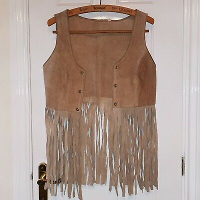 Vintage Western Tan Suede Waistcoat Lace Up Size 10 S Tassle 90s Grunge • 20£