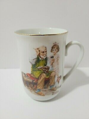 $ CDN3.49 • Buy Vintage 1982 NORMAN ROCKWELL Museum Collectible Cup Mug The Cobbler Authentic