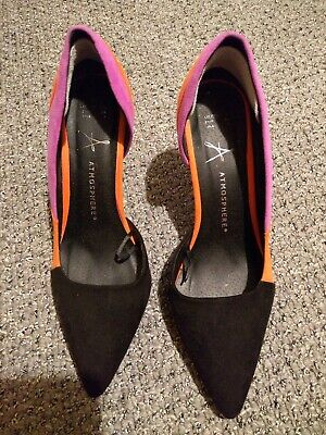 Ladies Atmosphere Black Stiletto Shoes With Orange And Magenta Pattern Size 5 • 1.99£